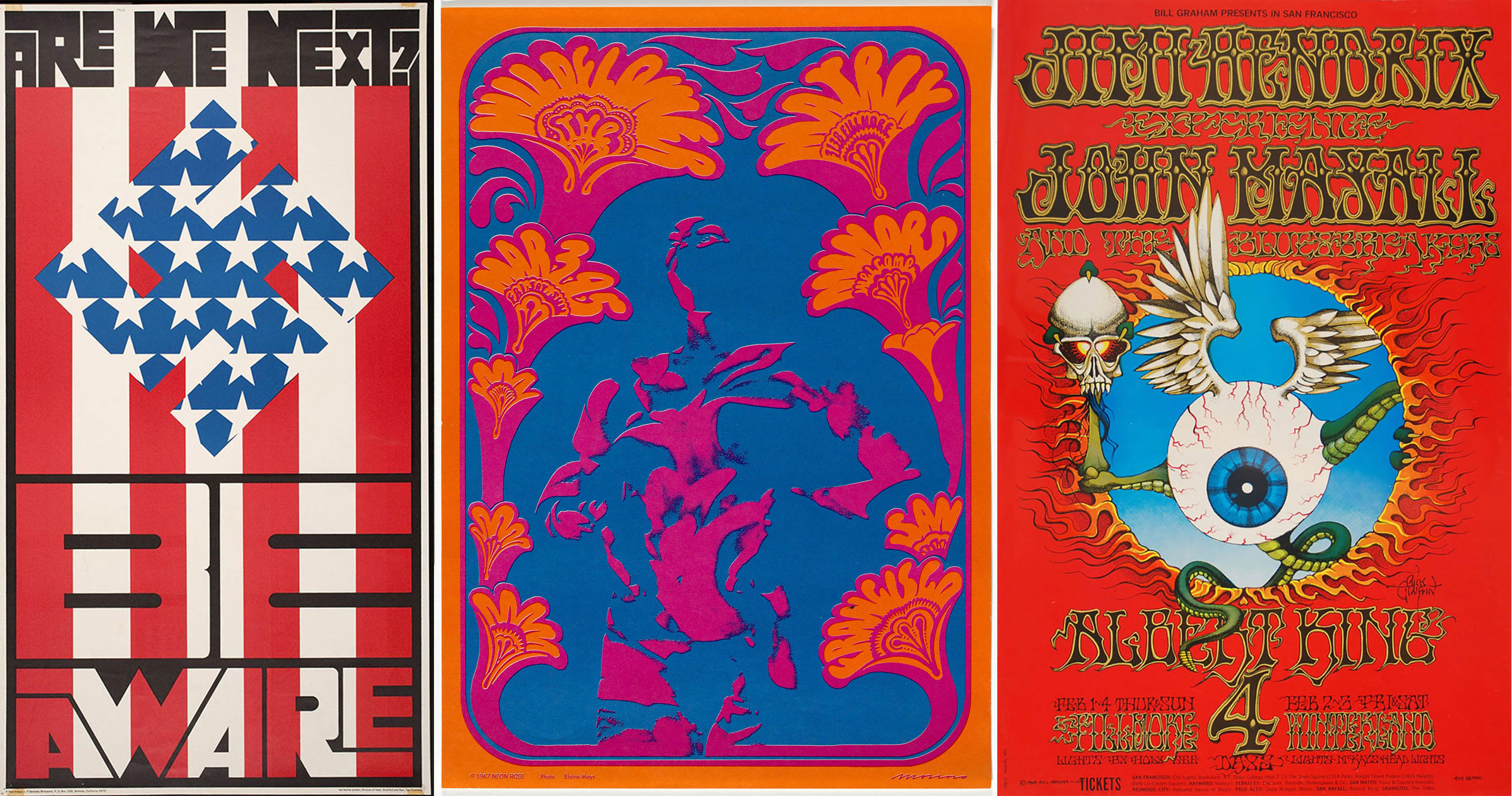 "Da sinistra: Wes Wilson, ""Are We Next Be Aware"", 1965; Victor Moscoso, ""The Wildflower"", 1967; Rick Griffin, 1968"